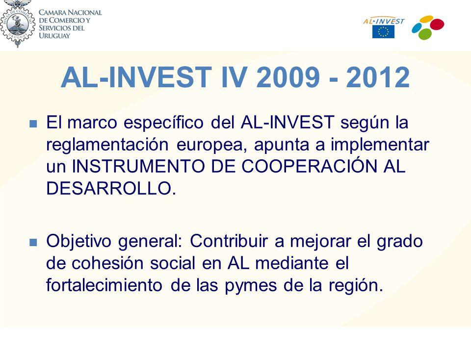 AL-INVEST IV 2009 - 2012 El marco específico del AL-INVEST según la reglamentación europea, apunta a implementar un INSTRUMENTO DE COOPERACIÓN AL DESARROLLO.