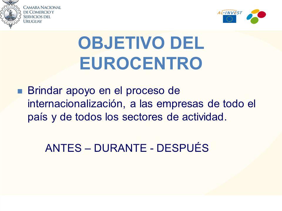 OBJETIVO DEL EUROCENTRO Brindar apoyo en el proceso de internacionalización, a las empresas de todo el país y de todos los sectores de actividad.