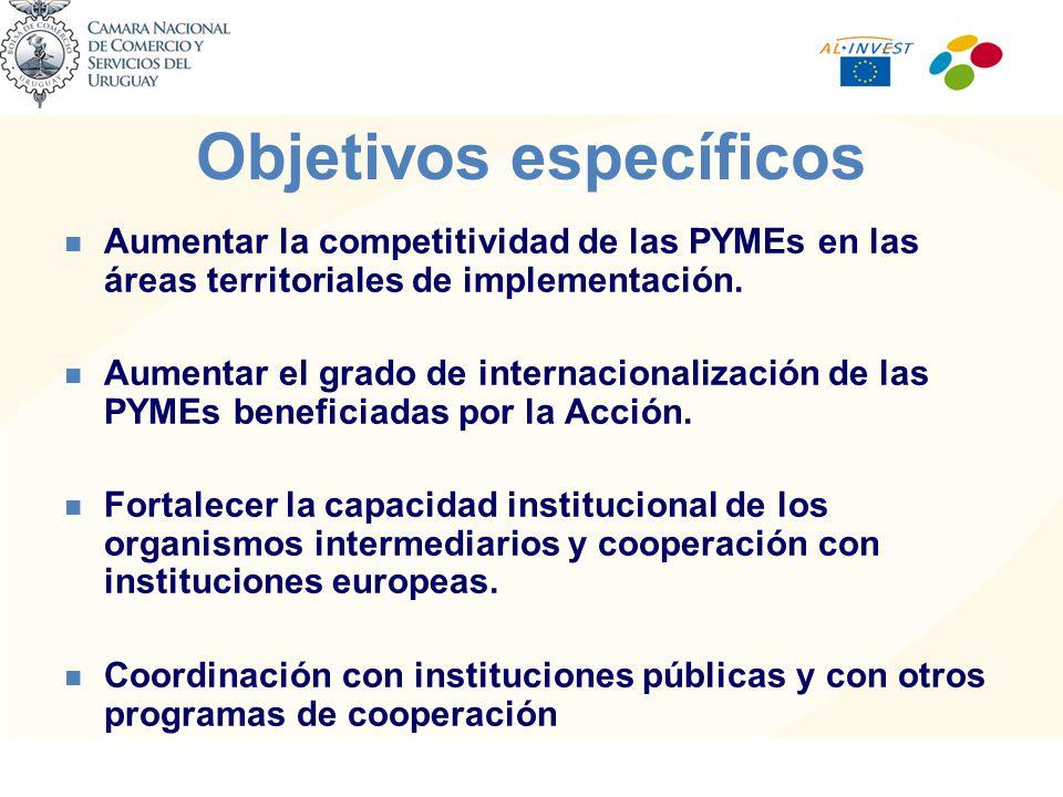 Objetivos específicos Aumentar la competitividad de las PYMEs en las áreas territoriales de implementación.