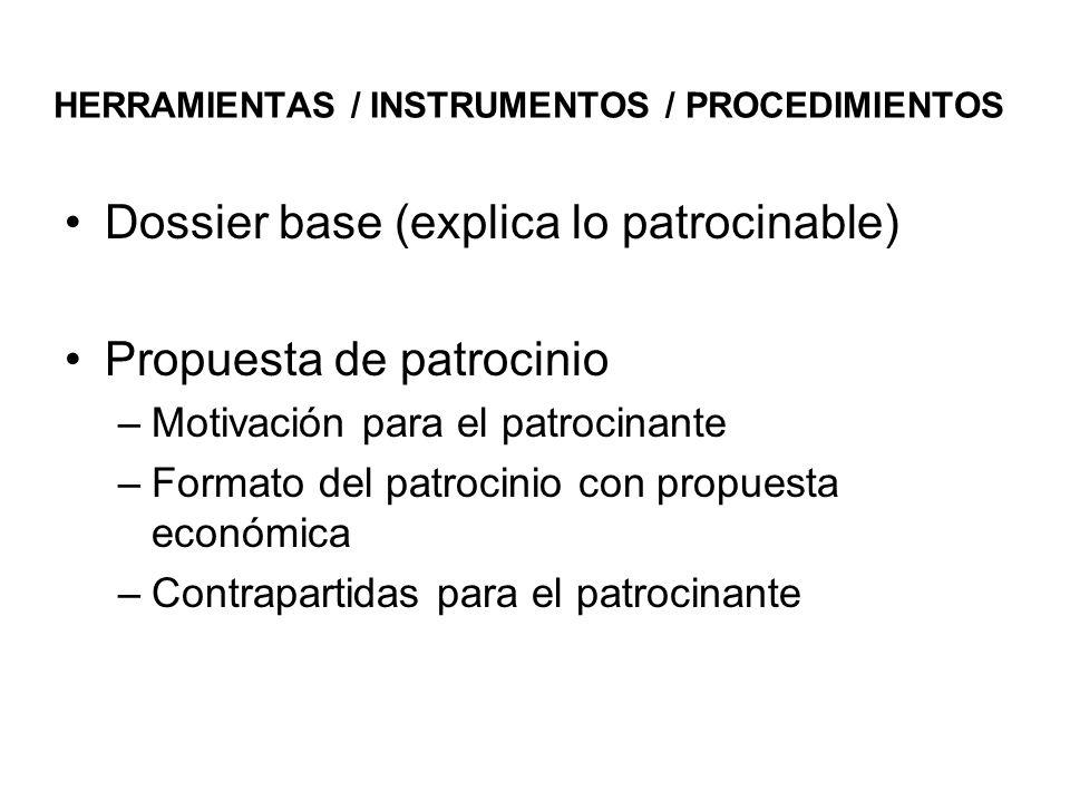 HERRAMIENTAS / INSTRUMENTOS / PROCEDIMIENTOS Dossier base (explica lo patrocinable) Propuesta de patrocinio –Motivación para el patrocinante –Formato del patrocinio con propuesta económica –Contrapartidas para el patrocinante