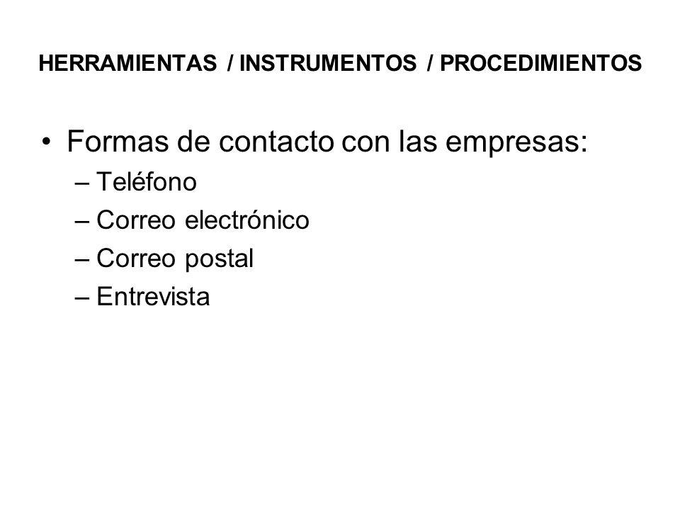 HERRAMIENTAS / INSTRUMENTOS / PROCEDIMIENTOS Formas de contacto con las empresas: –Teléfono –Correo electrónico –Correo postal –Entrevista