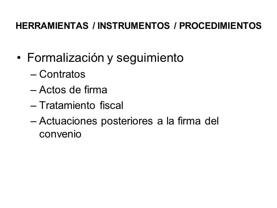 HERRAMIENTAS / INSTRUMENTOS / PROCEDIMIENTOS Formalización y seguimiento –Contratos –Actos de firma –Tratamiento fiscal –Actuaciones posteriores a la firma del convenio