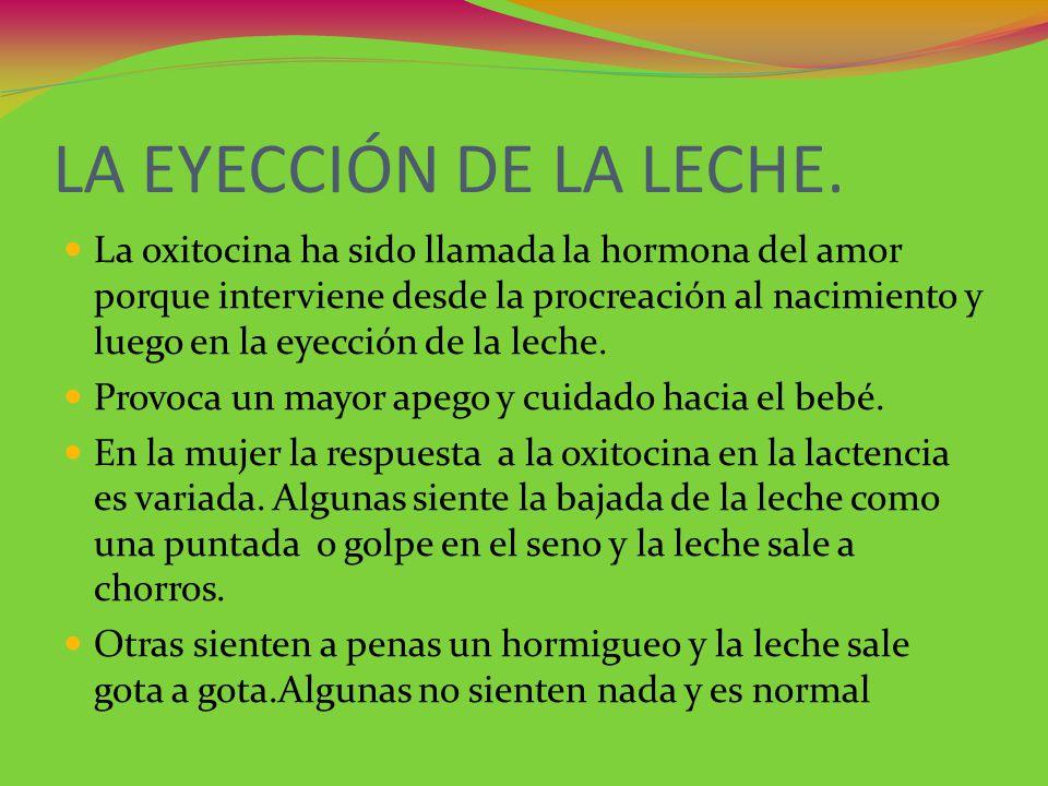 LA EYECCIÓN DE LA LECHE. La oxitocina ha sido llamada la hormona del amor porque interviene desde la procreación al nacimiento y luego en la eyección