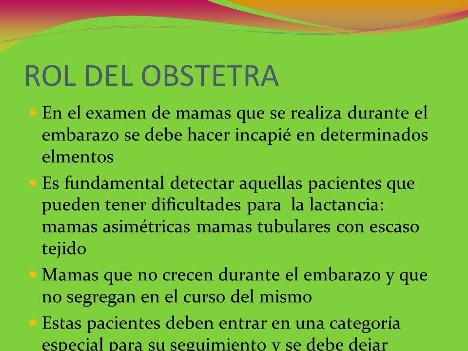 ROL DEL OBSTETRA En el examen de mamas que se realiza durante el embarazo se debe hacer incapié en determinados elmentos Es fundamental detectar aquel