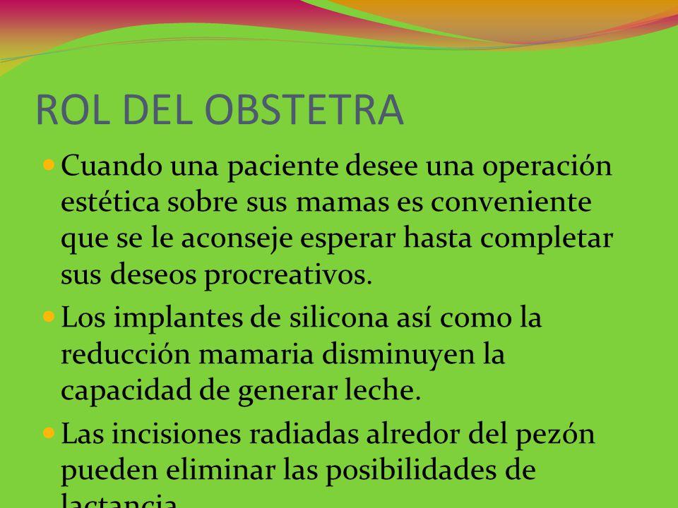 ROL DEL OBSTETRA Cuando una paciente desee una operación estética sobre sus mamas es conveniente que se le aconseje esperar hasta completar sus deseos