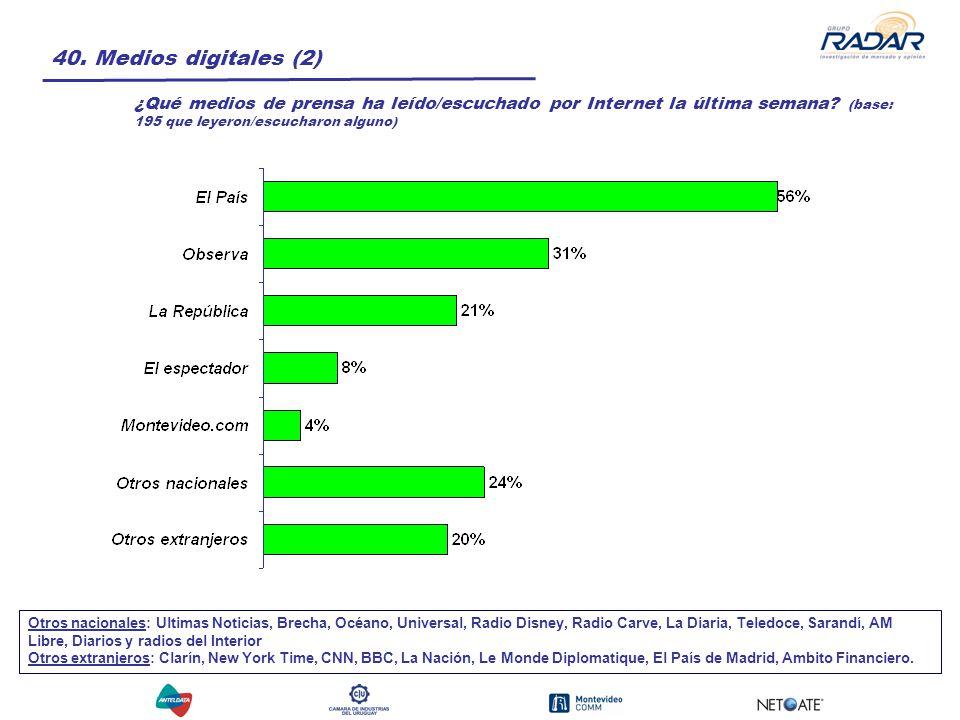 40. Medios digitales (2) ¿Qué medios de prensa ha leído/escuchado por Internet la última semana.