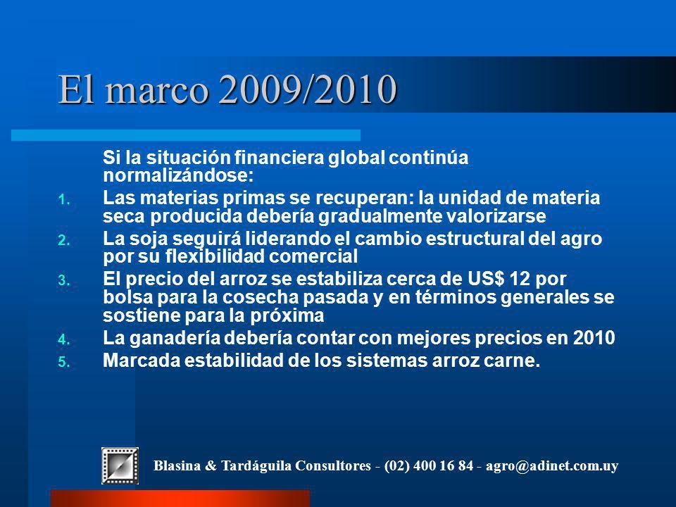 Blasina & Tardáguila Consultores - (02) 400 16 84 - agro@adinet.com.uy El marco 2009/2010 Si la situación financiera global continúa normalizándose: 1.