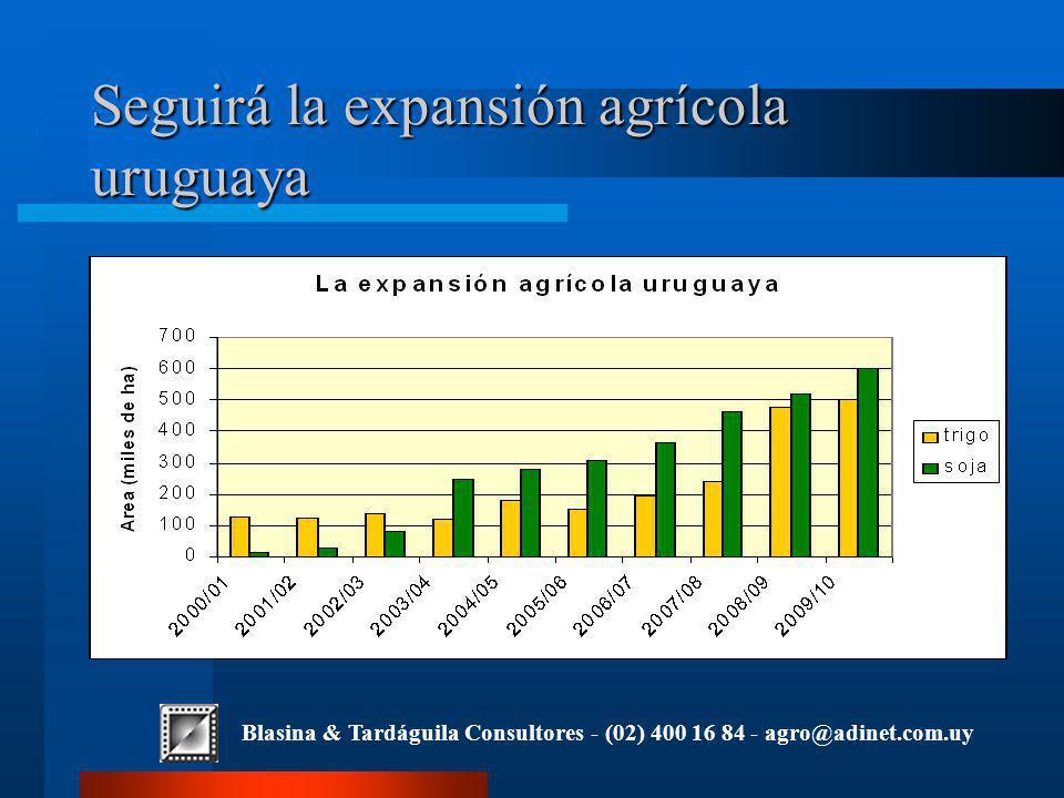 Blasina & Tardáguila Consultores - (02) 400 16 84 - agro@adinet.com.uy Seguirá la expansión agrícola uruguaya