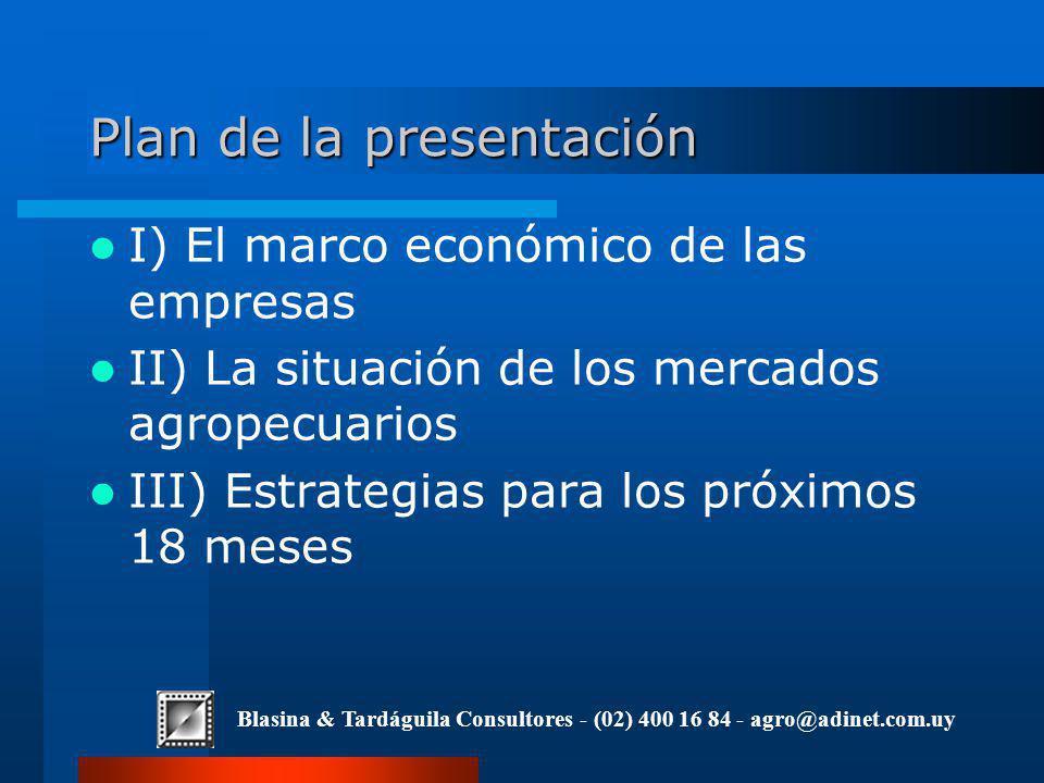 Plan de la presentación I) El marco económico de las empresas II) La situación de los mercados agropecuarios III) Estrategias para los próximos 18 meses