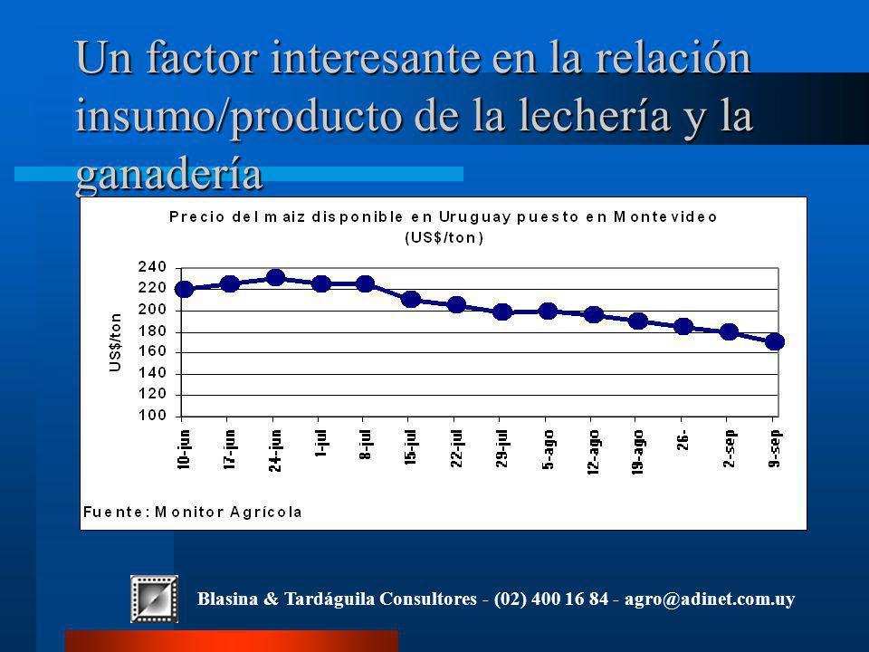 Blasina & Tardáguila Consultores - (02) 400 16 84 - agro@adinet.com.uy Un factor interesante en la relación insumo/producto de la lechería y la ganadería