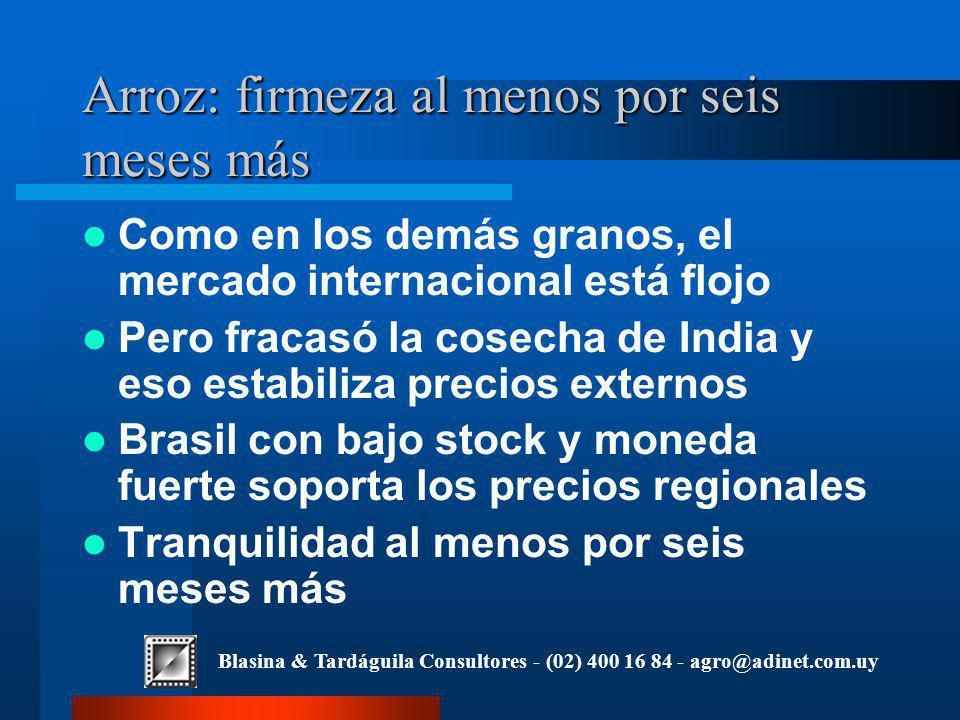 Blasina & Tardáguila Consultores - (02) 400 16 84 - agro@adinet.com.uy Arroz: firmeza al menos por seis meses más Como en los demás granos, el mercado internacional está flojo Pero fracasó la cosecha de India y eso estabiliza precios externos Brasil con bajo stock y moneda fuerte soporta los precios regionales Tranquilidad al menos por seis meses más