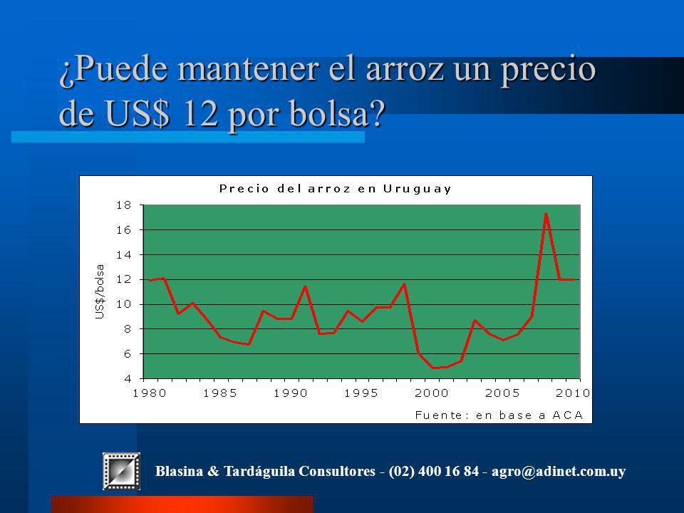 Blasina & Tardáguila Consultores - (02) 400 16 84 - agro@adinet.com.uy ¿Puede mantener el arroz un precio de US$ 12 por bolsa