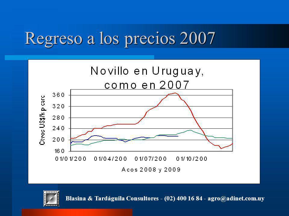 Blasina & Tardáguila Consultores - (02) 400 16 84 - agro@adinet.com.uy Regreso a los precios 2007