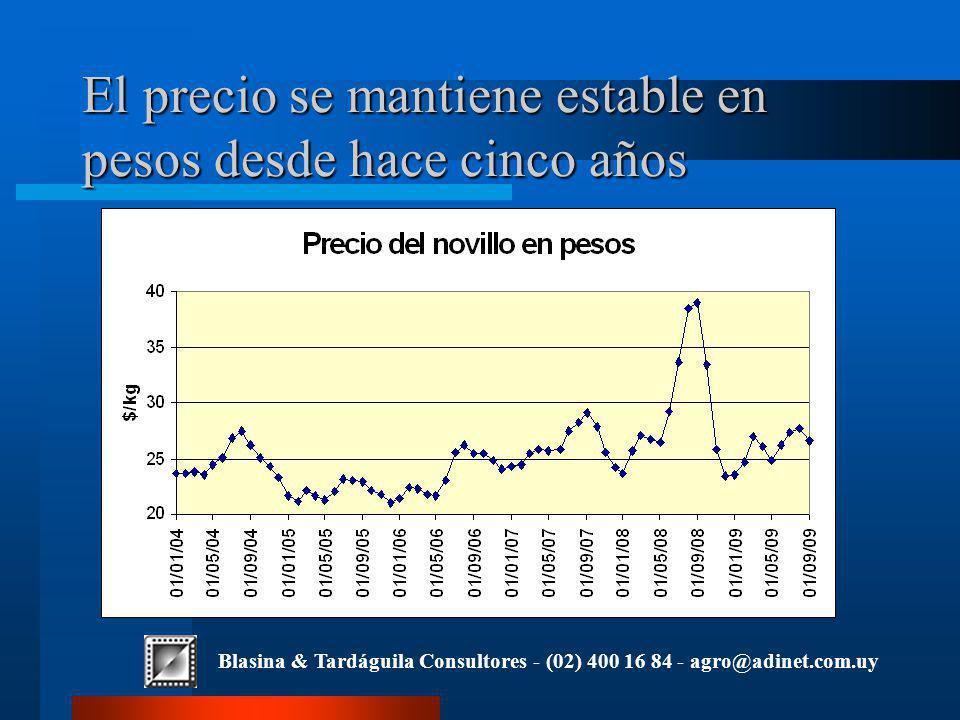 Blasina & Tardáguila Consultores - (02) 400 16 84 - agro@adinet.com.uy El precio se mantiene estable en pesos desde hace cinco años