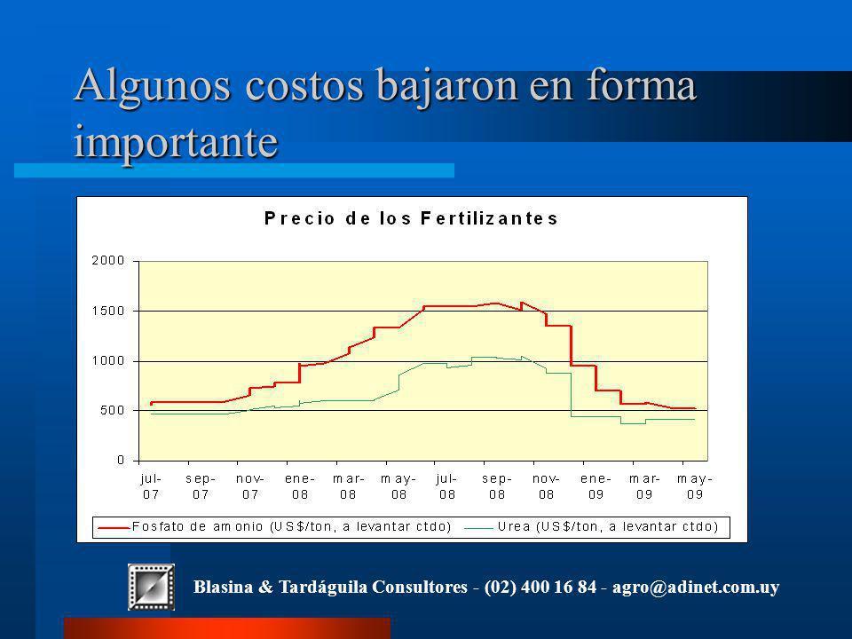 Blasina & Tardáguila Consultores - (02) 400 16 84 - agro@adinet.com.uy Algunos costos bajaron en forma importante