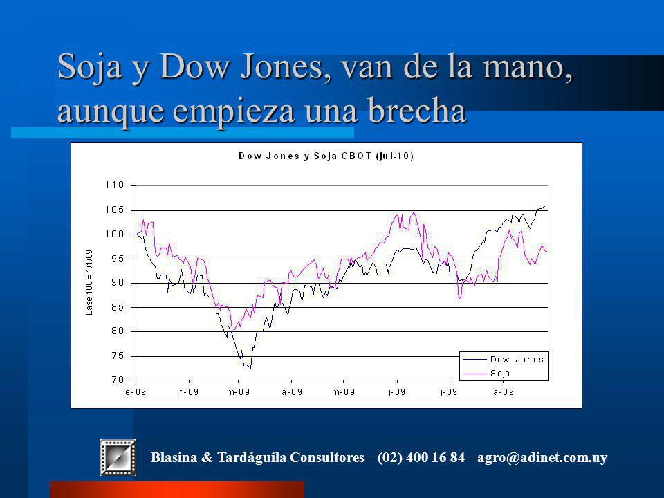 Blasina & Tardáguila Consultores - (02) 400 16 84 - agro@adinet.com.uy Soja y Dow Jones, van de la mano, aunque empieza una brecha