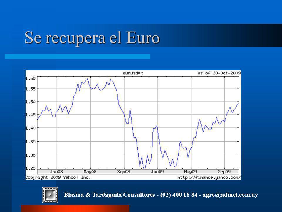 Blasina & Tardáguila Consultores - (02) 400 16 84 - agro@adinet.com.uy Se recupera el Euro
