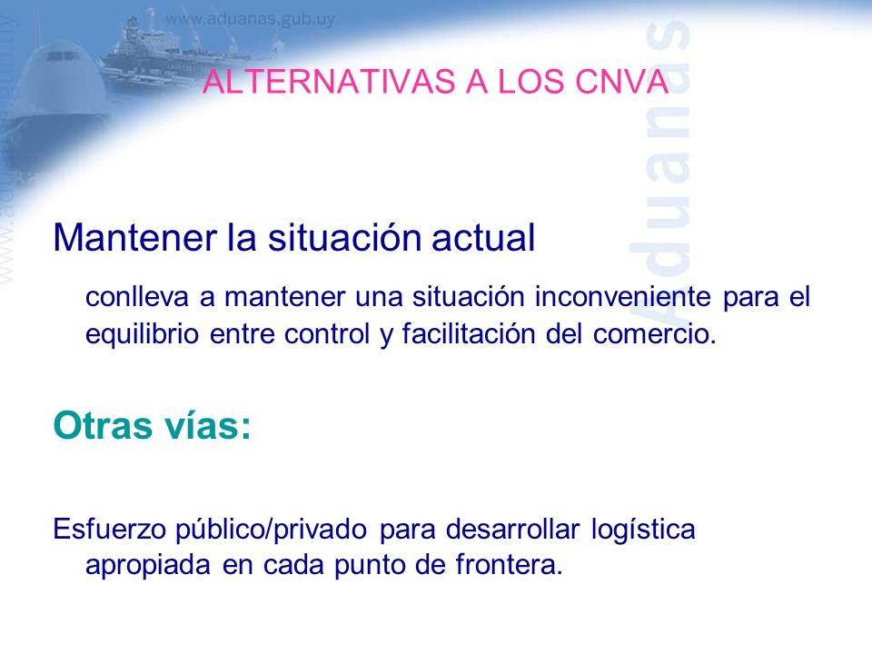 ALTERNATIVAS A LOS CNVA Mantener la situación actual conlleva a mantener una situación inconveniente para el equilibrio entre control y facilitación d