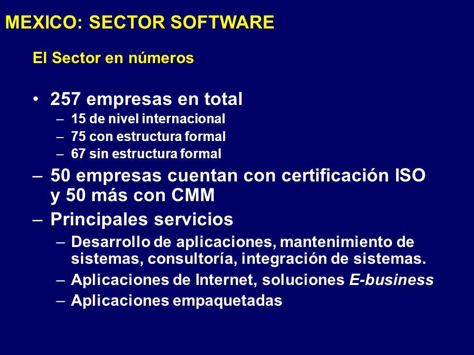 El Sector en números 257 empresas en total –15 de nivel internacional –75 con estructura formal –67 sin estructura formal –50 empresas cuentan con certificación ISO y 50 más con CMM –Principales servicios –Desarrollo de aplicaciones, mantenimiento de sistemas, consultoría, integración de sistemas.