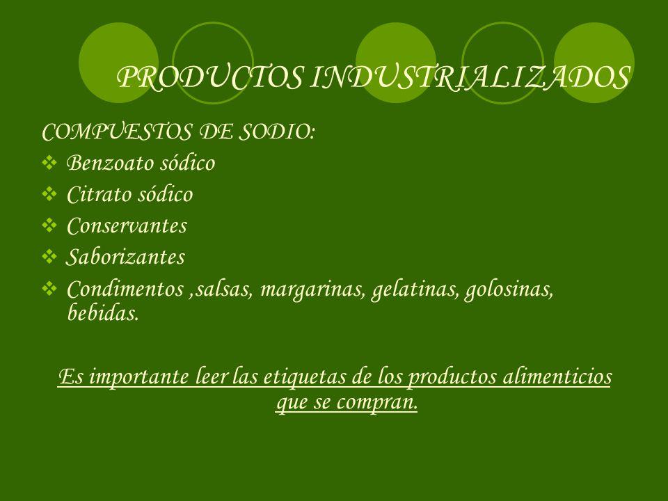 PRODUCTOS INDUSTRIALIZADOS COMPUESTOS DE SODIO: Benzoato sódico Citrato sódico Conservantes Saborizantes Condimentos,salsas, margarinas, gelatinas, golosinas, bebidas.