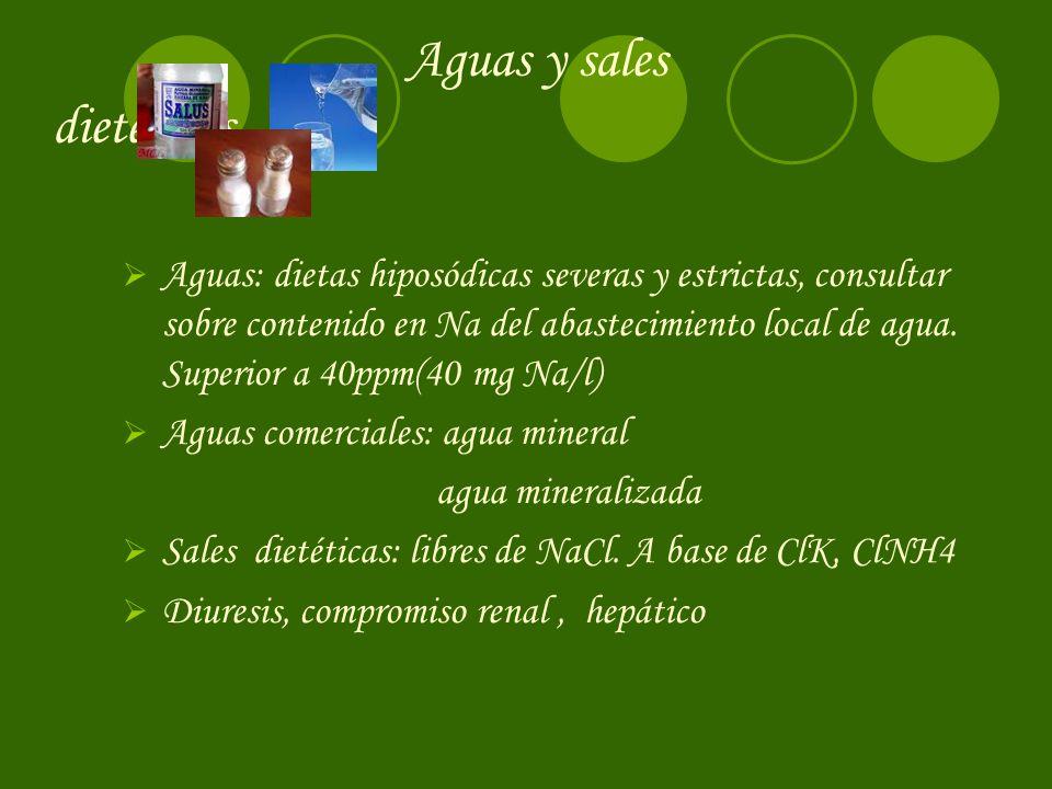 Aguas y sales dietéticas Aguas: dietas hiposódicas severas y estrictas, consultar sobre contenido en Na del abastecimiento local de agua. Superior a 4