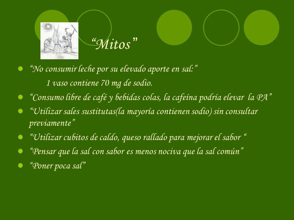 Mitos No consumir leche por su elevado aporte en sal: 1 vaso contiene 70 mg de sodio.
