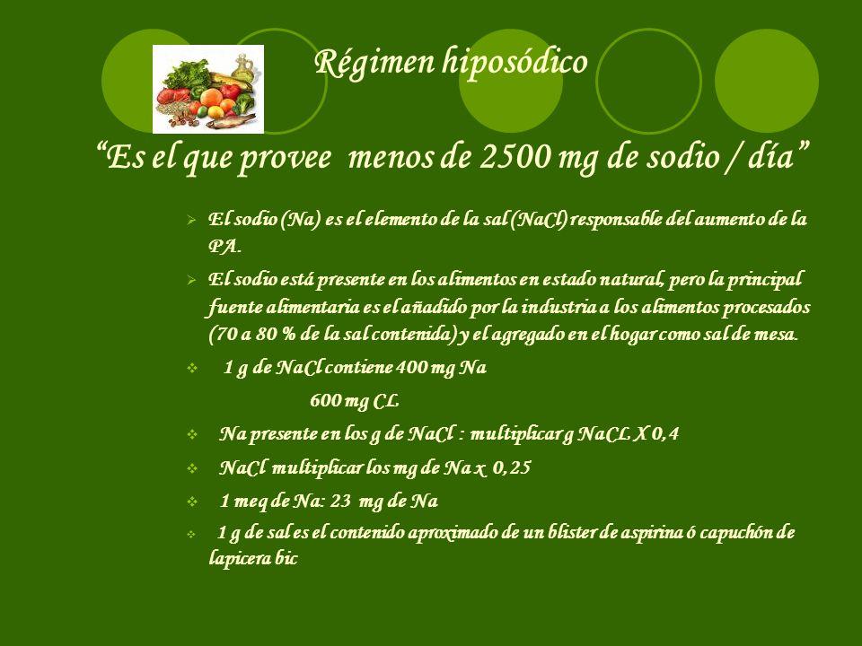 Régimen hiposódico Es el que provee menos de 2500 mg de sodio / día El sodio (Na) es el elemento de la sal (NaCl) responsable del aumento de la PA.