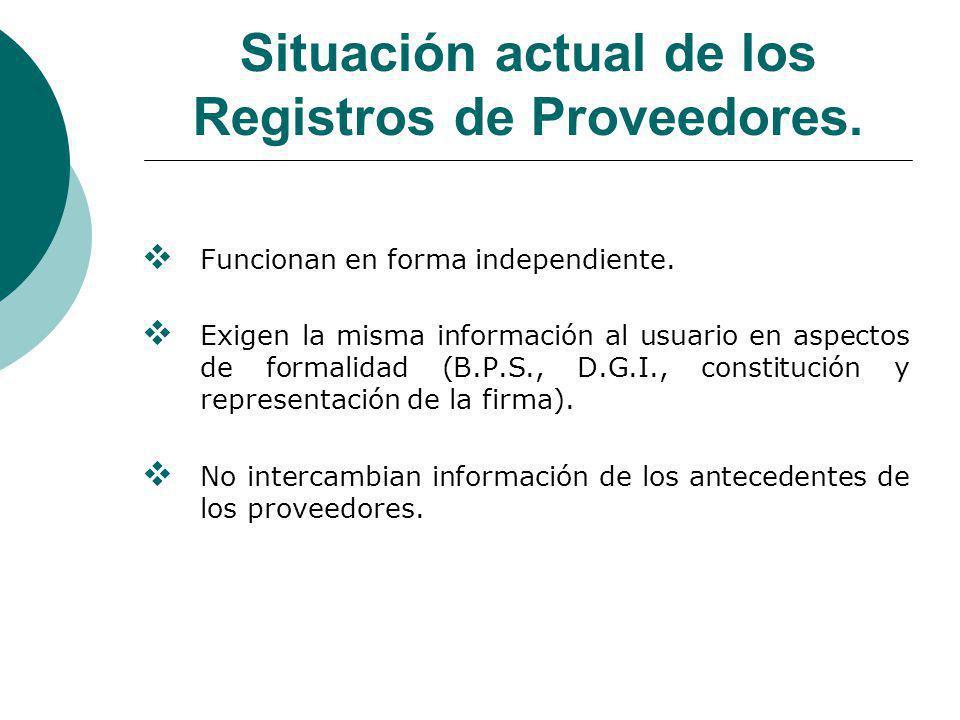 Situación actual de los Registros de Proveedores.Funcionan en forma independiente.