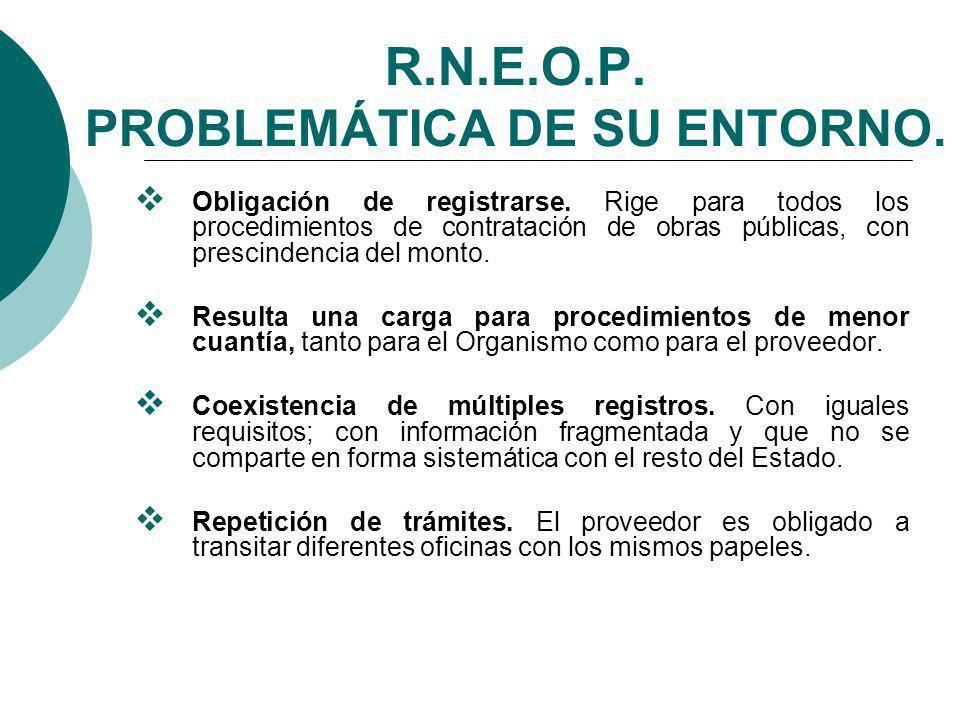 R.N.E.O.P.PROBLEMÁTICA DE SU ENTORNO. Obligación de registrarse.