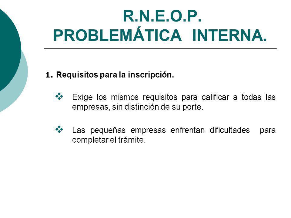 R.N.E.O.P.PROBLEMÁTICA INTERNA. 1. Requisitos para la inscripción.