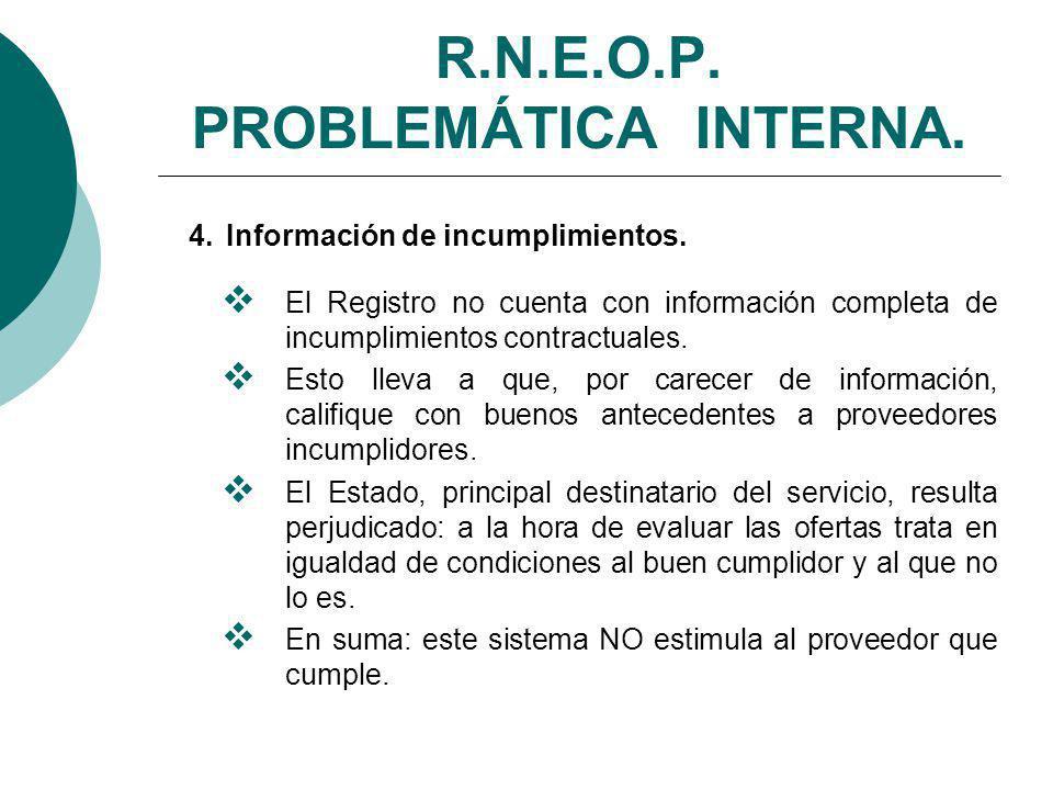 R.N.E.O.P.PROBLEMÁTICA INTERNA. 4. Información de incumplimientos.