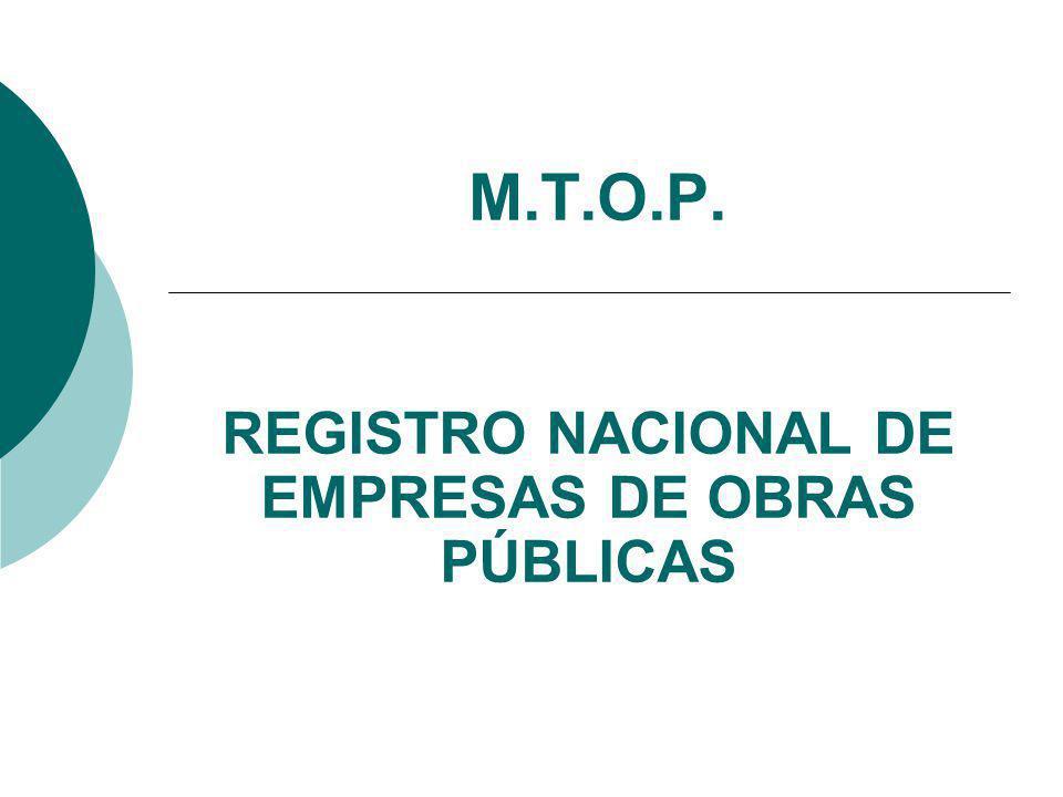 M.T.O.P. REGISTRO NACIONAL DE EMPRESAS DE OBRAS PÚBLICAS