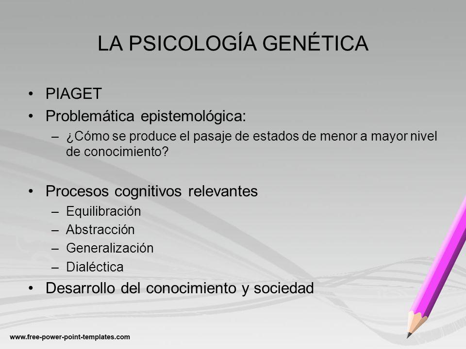 LA PSICOLOGÍA GENÉTICA PIAGET Problemática epistemológica: –¿Cómo se produce el pasaje de estados de menor a mayor nivel de conocimiento? Procesos cog