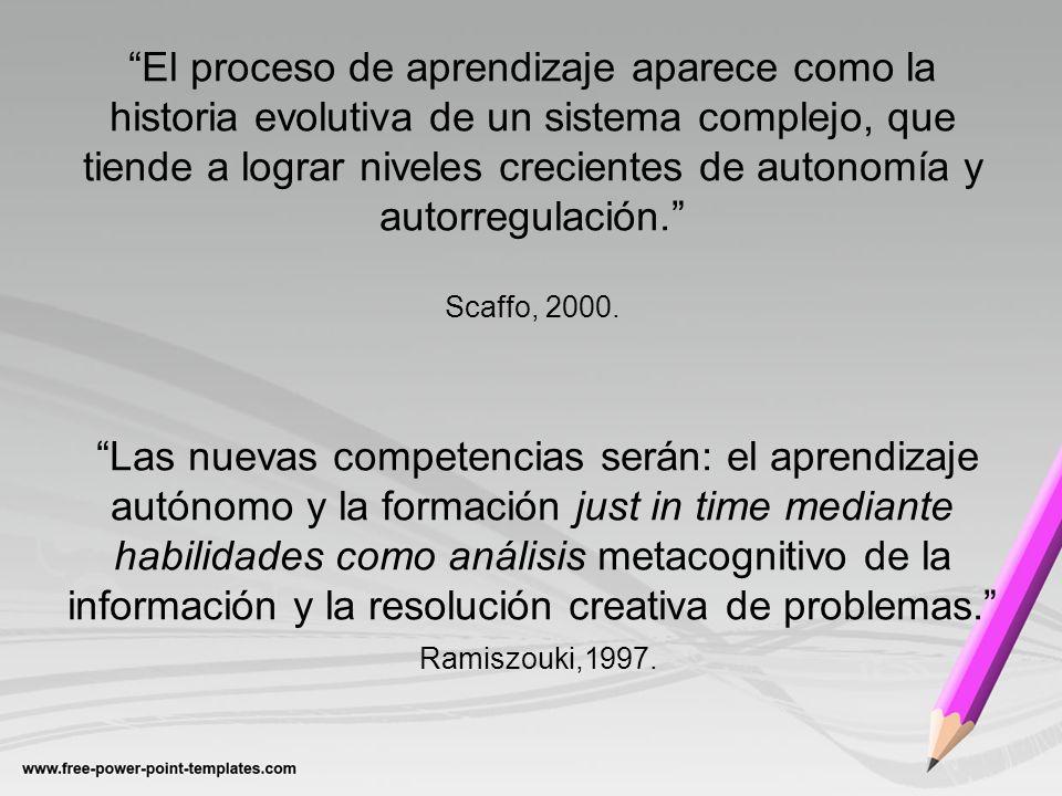 El proceso de aprendizaje aparece como la historia evolutiva de un sistema complejo, que tiende a lograr niveles crecientes de autonomía y autorregula