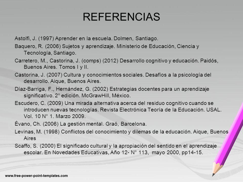 REFERENCIAS Astolfi, J. (1997) Aprender en la escuela. Dolmen, Santiago. Baquero, R. (2006) Sujetos y aprendizaje. Ministerio de Educación, Ciencia y