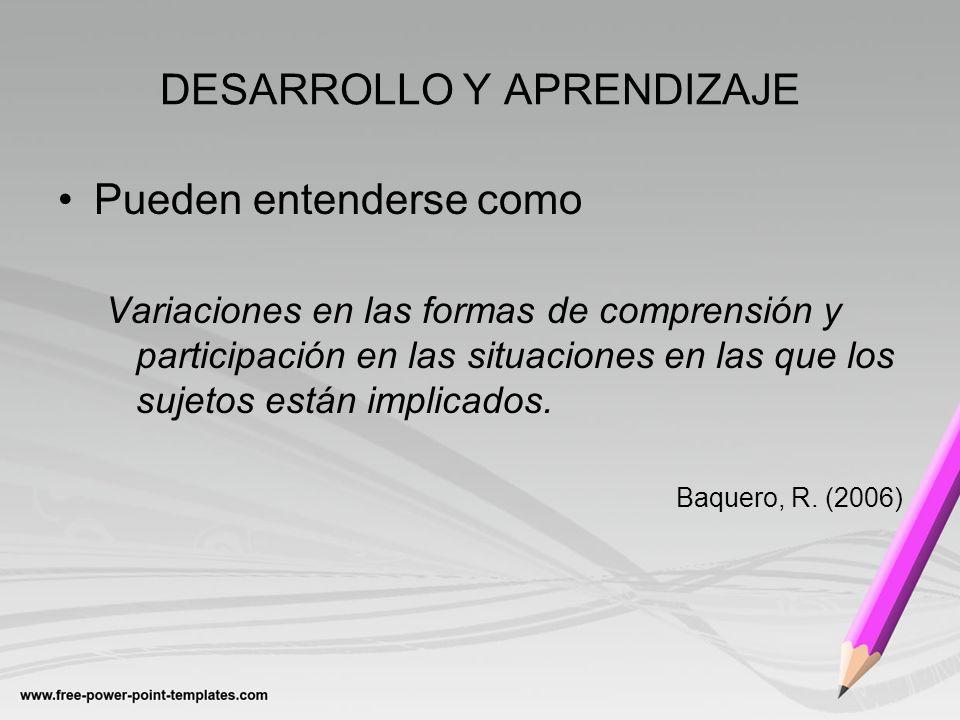 DESARROLLO Y APRENDIZAJE Pueden entenderse como Variaciones en las formas de comprensión y participación en las situaciones en las que los sujetos est