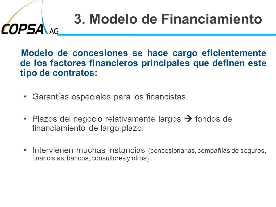 3. Modelo de Financiamiento Modelo de concesiones se hace cargo eficientemente de los factores financieros principales que definen este tipo de contra