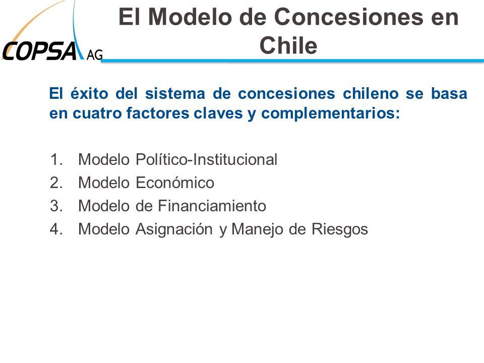 El Modelo de Concesiones en Chile El éxito del sistema de concesiones chileno se basa en cuatro factores claves y complementarios: 1.Modelo Político-I