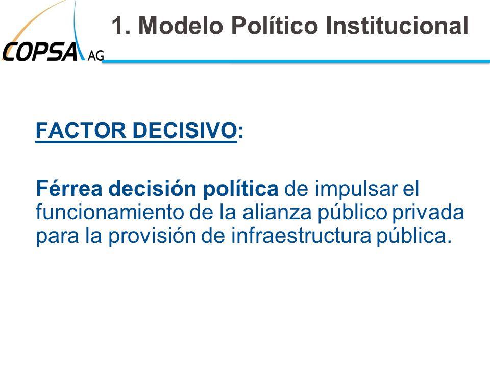 1. Modelo Político Institucional FACTOR DECISIVO: Férrea decisión política de impulsar el funcionamiento de la alianza público privada para la provisi