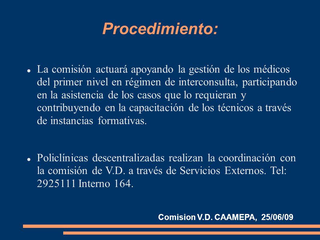 Procedimiento: La comisión actuará apoyando la gestión de los médicos del primer nivel en régimen de interconsulta, participando en la asistencia de los casos que lo requieran y contribuyendo en la capacitación de los técnicos a través de instancias formativas.