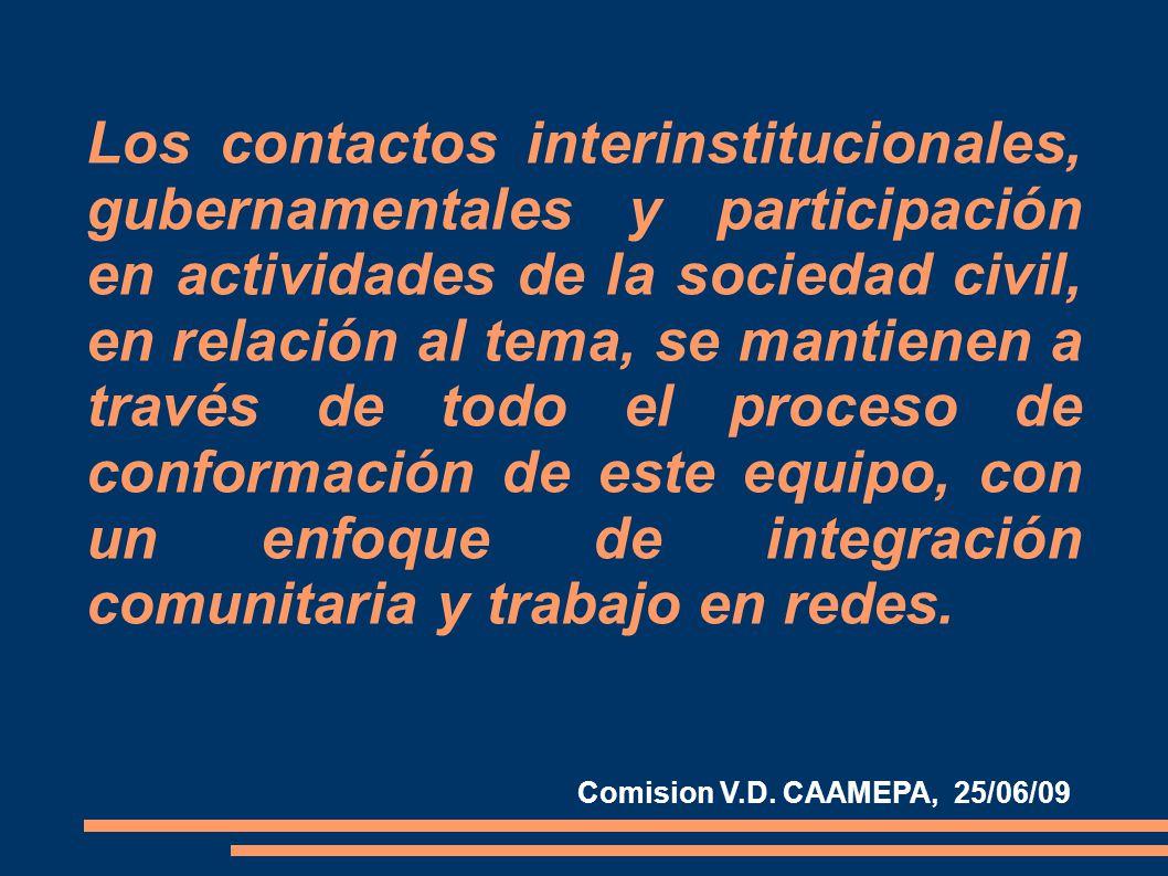 Los contactos interinstitucionales, gubernamentales y participación en actividades de la sociedad civil, en relación al tema, se mantienen a través de todo el proceso de conformación de este equipo, con un enfoque de integración comunitaria y trabajo en redes.