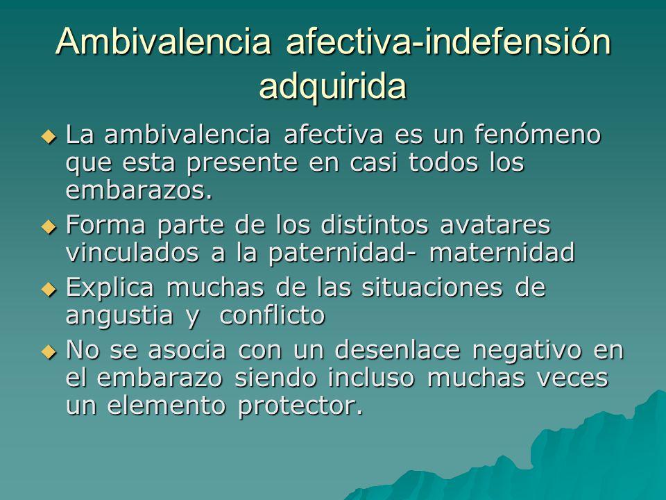 Ambivalencia afectiva-indefensión adquirida La ambivalencia afectiva es un fenómeno que esta presente en casi todos los embarazos. La ambivalencia afe