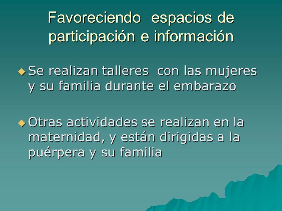 Favoreciendo espacios de participación e información Se realizan talleres con las mujeres y su familia durante el embarazo Se realizan talleres con la