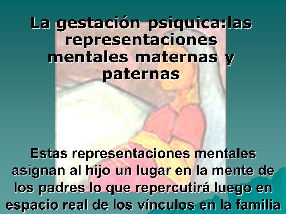 Estas representaciones mentales asignan al hijo un lugar en la mente de los padres lo que repercutirá luego en espacio real de los vínculos en la fami