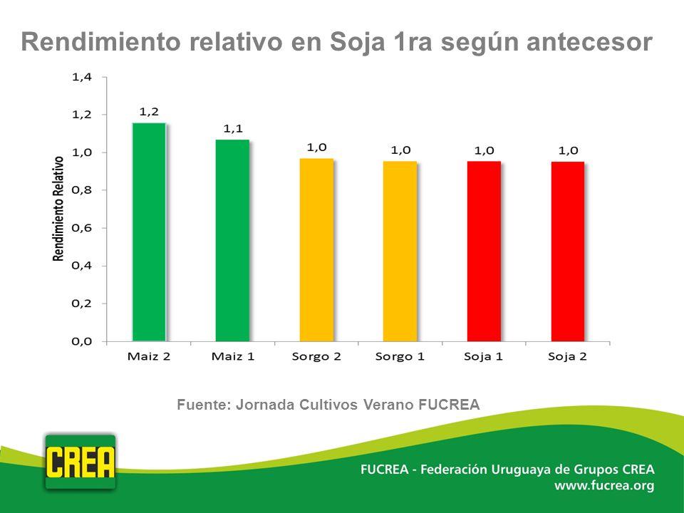 Rendimiento relativo en Soja 1ra según antecesor Fuente: Jornada Cultivos Verano FUCREA