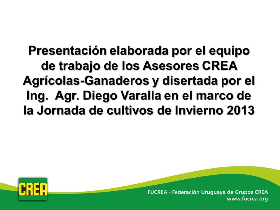 Presentación elaborada por el equipo de trabajo de los Asesores CREA Agrícolas-Ganaderos y disertada por el Ing. Agr. Diego Varalla en el marco de la