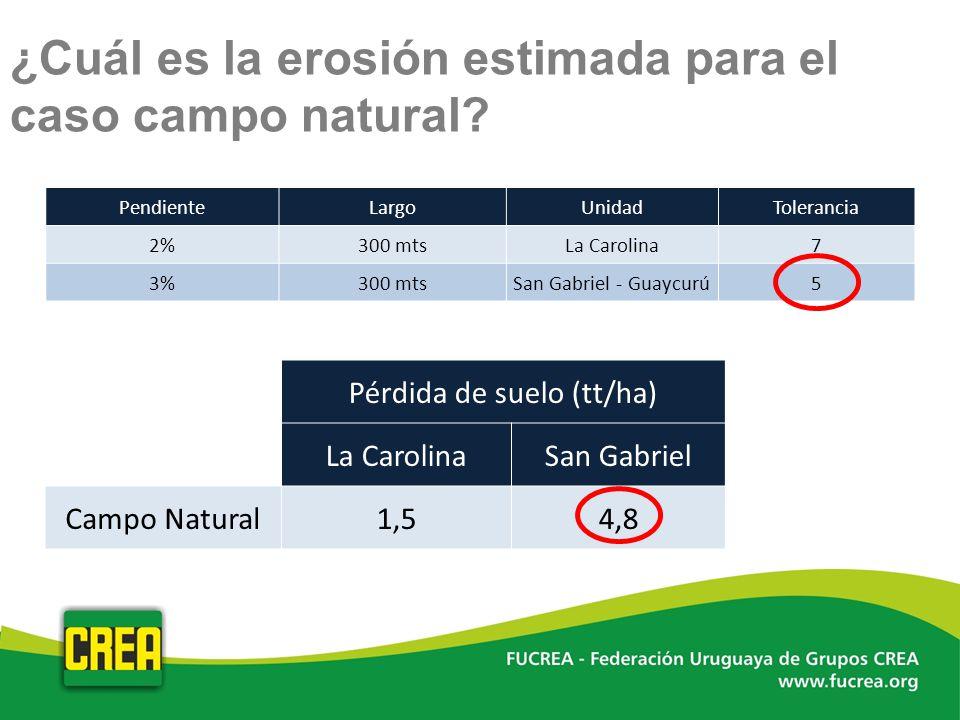 ¿Cuál es la erosión estimada para el caso campo natural? PendienteLargoUnidadTolerancia 2%300 mtsLa Carolina7 3%300 mtsSan Gabriel - Guaycurú5 Pérdida