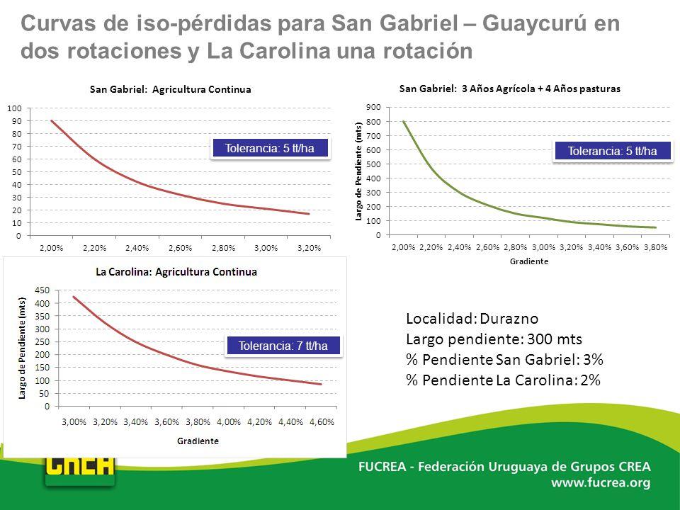 Curvas de iso-pérdidas para San Gabriel – Guaycurú en dos rotaciones y La Carolina una rotación Localidad: Durazno Largo pendiente: 300 mts % Pendient