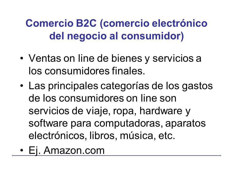 Comercio B2C (comercio electrónico del negocio al consumidor) Ventas on line de bienes y servicios a los consumidores finales. Las principales categor