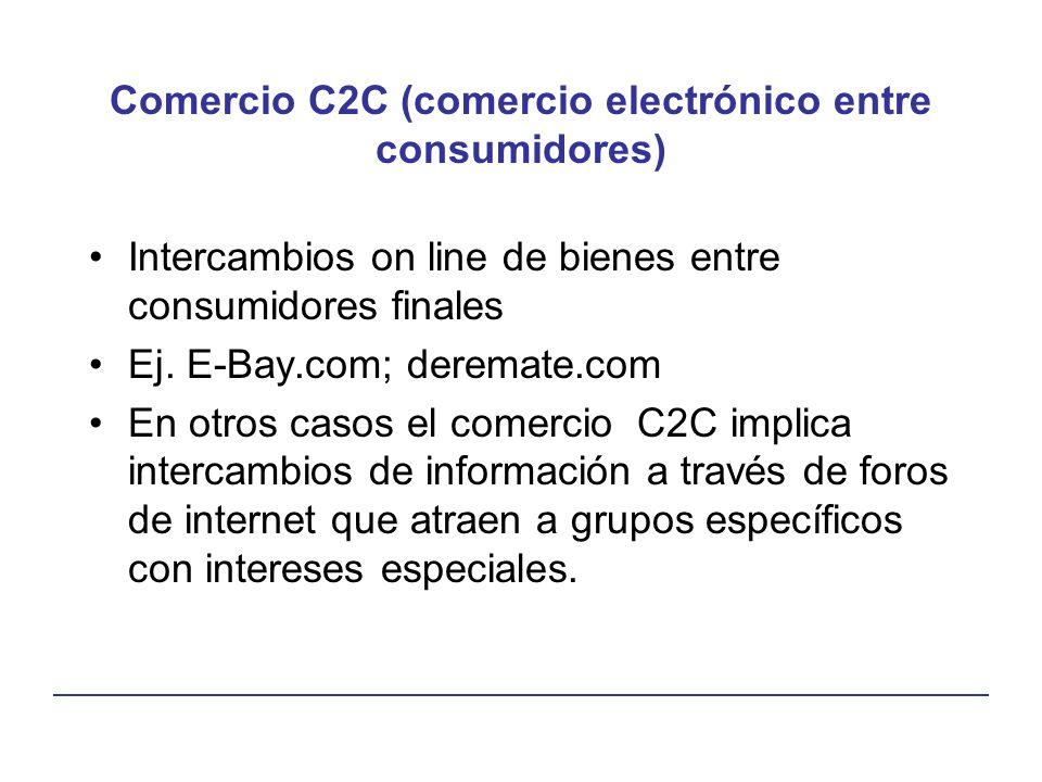 Comercio C2C (comercio electrónico entre consumidores) Intercambios on line de bienes entre consumidores finales Ej. E-Bay.com; deremate.com En otros